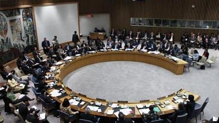Réunion du Conseil de sécurité de l'Onu. Les cinq membres permanents du Conseil de sécurité disposant d'un droit de veto sont tombés d'accord sur une liste de firmes et d'individus iraniens ciblés par une nouvelle série de sanctions. /Photo d'archives/REU