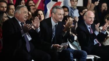 Gérard Larcher, Bruno Le Maire et Patrick Stefanini assistant à un meeting de François Fillon le 25 novembre 2016 à Paris.