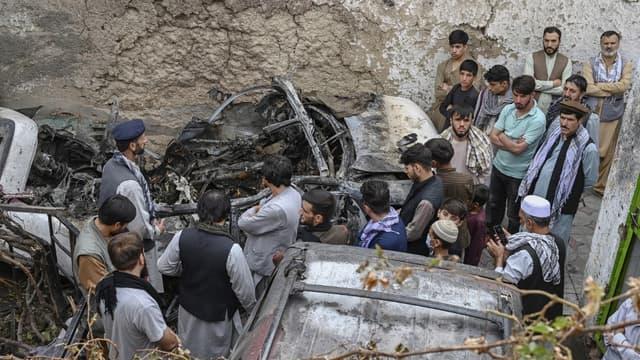 Le lieu visé par la dernière frappe américaine à Kaboul, le 30 août 2021.