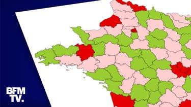 """Les """"zones"""" attribuées à chaque département au 23 septembre."""