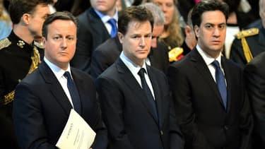 De gauche à droite: David Cameron, Nick Clegg et Ed Miliband