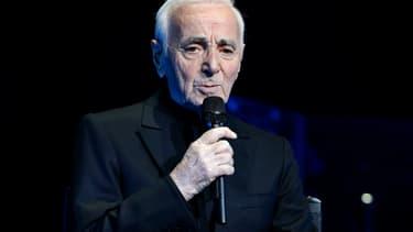 Charles Aznavour au Palais des Sports de Paris, le 21 décembre 2016. -