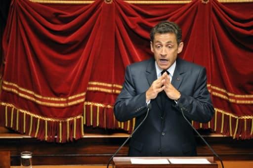 Sarkozy lors de son discours Nicolas Sarkozy devant le Parlement réuni en Congrès le 22 juin 2009 à Versailles