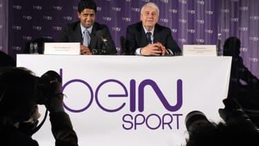 Nasser Al-Khelaifi et Charles Bietry lors du lancement de BeIN Sports en 2012