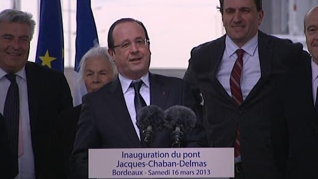 François Hollande était à Bordeaux, ce samedi matin, pour inaugurer le pont Jacques Chaban-Delmas.