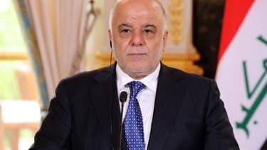 Le Premier ministre irakien Haider al-Abadi lors d'une conférence de presse à Paris le 5 octobre 2017.