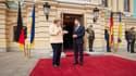 La chancelière allemand Angela Merkel et le président ukrainien Volodymyr Zelensky à Kiev, le 22 août 2021.