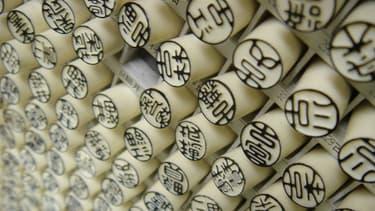 La publicité pour ces tampons japonais, à base d'ivoire d'éléphant, a mis en colère l'ONG.
