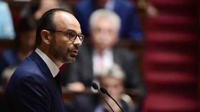Edouard Philippe lors du discours de politique générale devant le Parlement réuni à Versailles près de Paris le 4 juillet 2017
