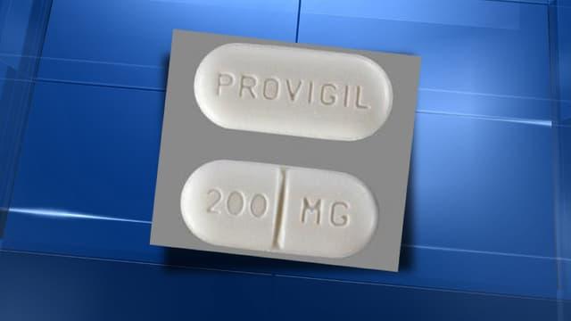 Un cachet de Progivil, le Modafinil tel qu'il est vendu aux Etats-Unis et au Royaume-Uni.