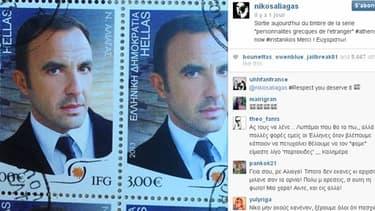 Le timbre visible sur le compte Instagram de Nikos Aliagas.
