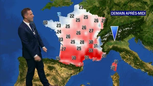 Les températures mercredi après-midi en France.