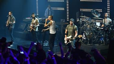 Le groupe Linkin Park sur scène en juin 2014 en Californie.