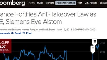 """L'article de Bloomberg sur le """"décret de patriotisme économique""""."""