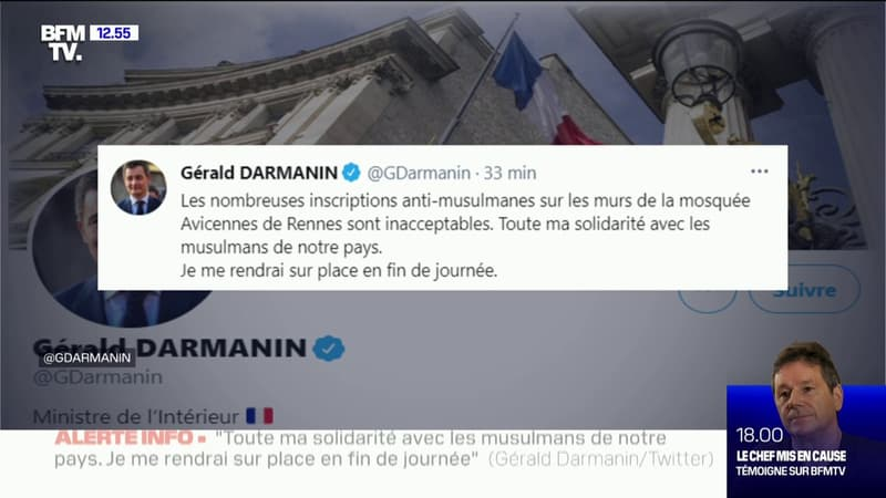 """Jordan Bardella """"condamne"""" les tags antimusulmans sur les murs d'une mosquée à Rennes"""