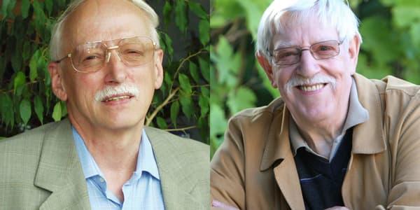 Willy Lambil (à gauche) et Raoul Cauvin (à droite), le dessinateur et le scénariste des Tuniques Bleues.
