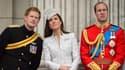 Le prince Harry, à gauche, son frère William et son épouse Kate, ici le 14 juin à Londres, seront présents au départ du Tour de France le 5 juillet.