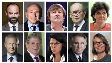 Edouard Philippe et ses principaux ministres selon l'ordre protocolaire.
