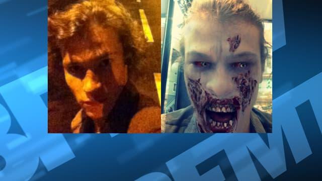L'étudiant a changé sa photo de profil Facebook (à gauche) pour une de lui où il est grimé en zombie (à droite), quatre jours avant d'agresser un homme au couteau à Thonon-les-Bains.