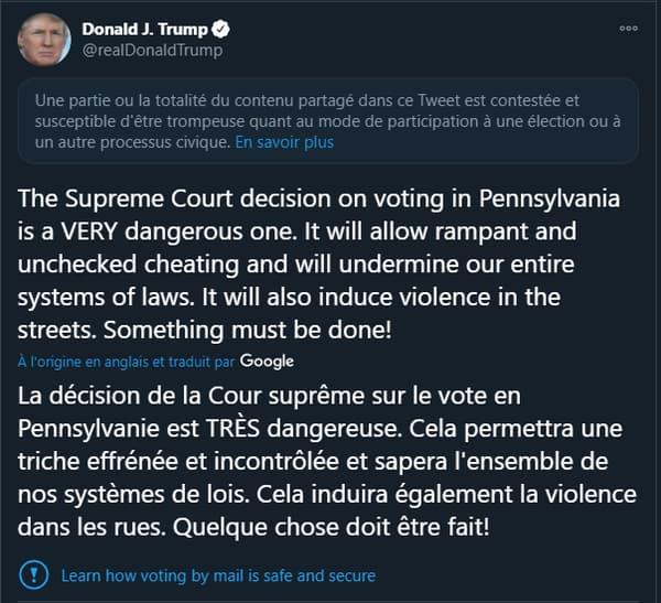Le tweet de Donald Trump signalé comme trompeur par la plateforme