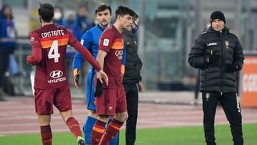 Les joueurs de la Roma contre Spezia en Coupe d'Italie, le 19 janvier 2021