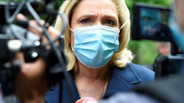 La dirigeante du Rassemblement national Marine Le Pen à Lunéville, le 8 juin 2021