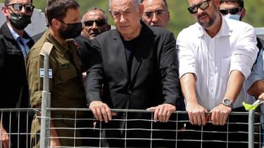 Le Premier ministre israélien Benjamin Netanyahu à Meron vendredi 30 avril 2021, quelques heures après la bousculade qui a fait au moins 44 morts