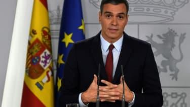 Le Premier ministre espagnol Pedro Sanchez lors d'un discours à Madrid le 24 octobre 2019