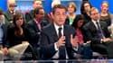 Invité de France 2, Nicolas Sarkozy n'a pas exclu que les électeurs UMP soient invités à voter blanc ou à s'abstenir en cas de duels Front National-Parti socialiste lors des élections législatives de juin prochain. /Copie du 26 avril 2012/REUTERS/France 2