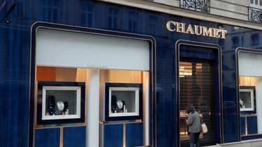 L'enseigne Chaumet rue François 1er à Paris, le 27 juillet 2021