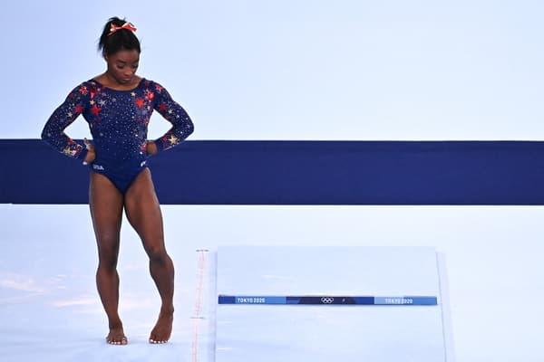 Simone Biles lors des Jeux de Tokyo en juillet 2021
