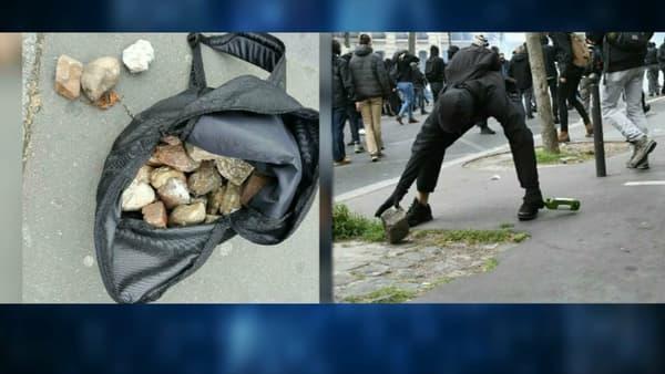 Des projectiles retrouvés lors de la manifestation du 1er mai à Paris.