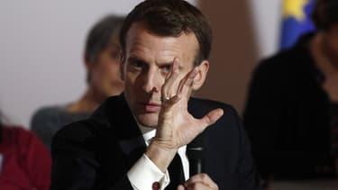 Emmanuel Macron lors d'un discours à la Convention pour le Climat au siège du CESE, le 10 janvier 2020, à Paris (photo d'illustration)