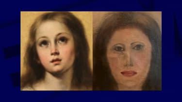 La toile originale, et sa version restaurée.