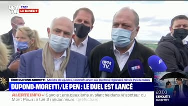 """Éric Dupond-Moretti juge les propos de Marine Le Pen sur les bracelets anti-rapprochement """"d'une indécence incroyable"""""""