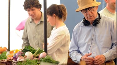 """Woody Allen et Jesse Eisenberg sur le tournage de """"To Rome with Love"""""""