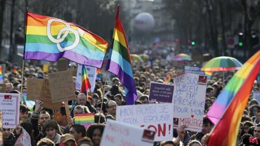 Les partisans du mariage pour tous défilent à Paris. (Photo d'illustration)