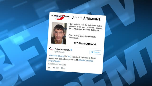 La police a lancé un appel à témoins, ce dimanche, pour identifier le troisième kamikaze du Stade de France.