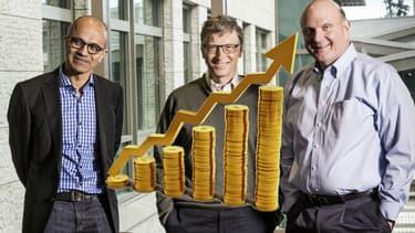 Le Pdg Satya Nadella, le fondateur Bill Gates et les plus gros actionnaire Steve Ballmer.