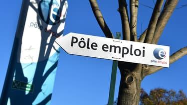 Un panneau indiquant une agence Pôle emploi à Montpellier le 3 janvier 2019 (photo d'illustration)