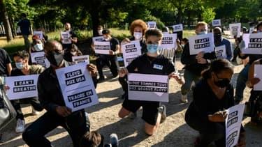 Manifestation à Paris contre le racisme devant l'ambassade des Etats-Unis à Paris, le 1er juin 2020