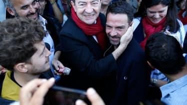 Jean-Luc Mélenchon et Jérôme Kerviel  la Fête de l'Huma, samedi 13 septembre 2014.