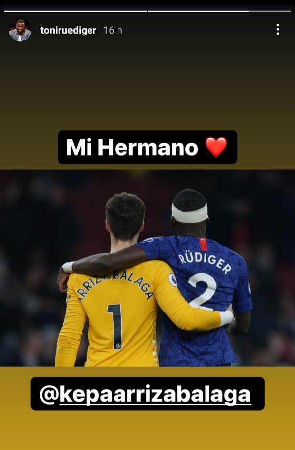 Le joli message de Rudiger pour Arrizabalaga