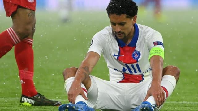 Le capitaine parisien Marquinhos blessé lors de la victoire du PSG à Munich en Ligue des champions, le 7 avril 202.