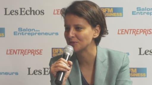 Najat Vallaud-belkacem dans le studio officiel du Salon des entrepreneurs.