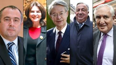 Didier Guillaume, Nathalie Goulet, Philippe  Marini, Gérard Larcher et Jean-Pierre Raffarin, l es cinq candidats à la présidence du Sénat.