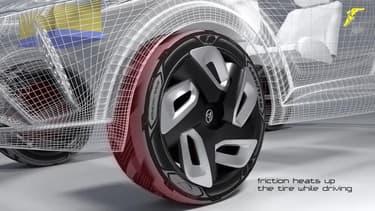 Ce pneu est une centrale de production d'énergie qu'il récupère et transforme en roulant et même à l'arrêt grâce à des panneaux solaires latéraux.