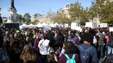 Une manifestation place de la République à Paris contre les violences sexistes et sexuelles, à l'appel du mouvement #NousToutes, le 29 septembre 2018.