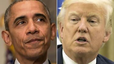 Les président américain Donald Trump (d) et son prédécesseur Barack Obama