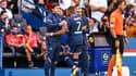 Mauricio Pochettino et Kylian Mbappé lors de la sortie du joueur avec le PSG